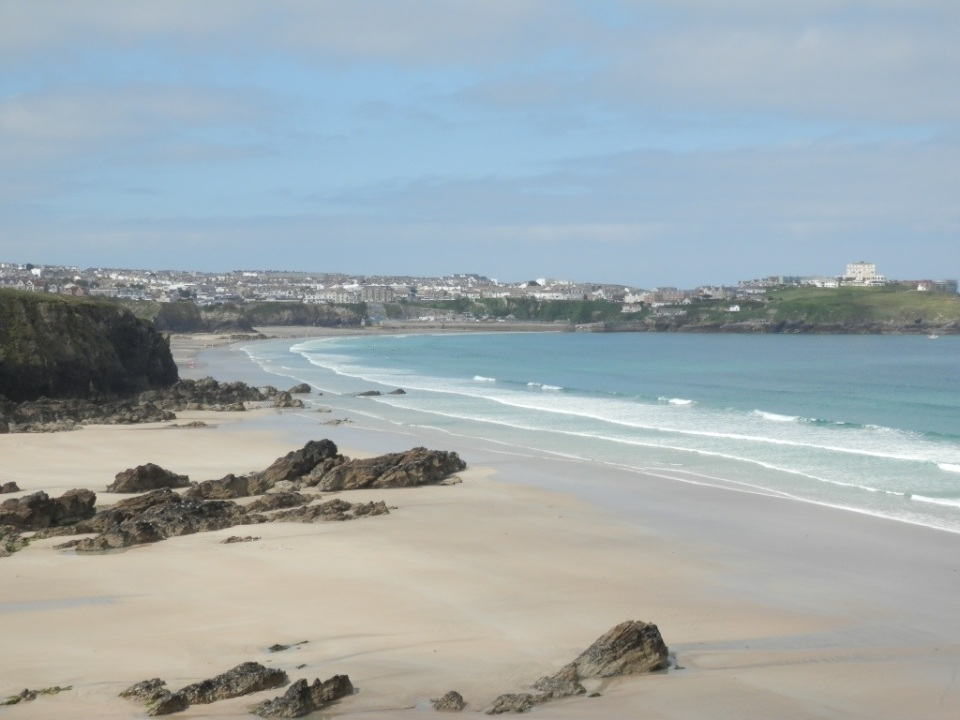 Lusty Glaze beach looking towards Newquay in Cornwall