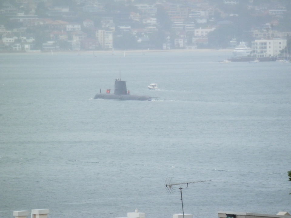 Submarine leaving the harbour