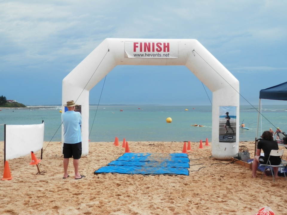 View of the course through the finish line