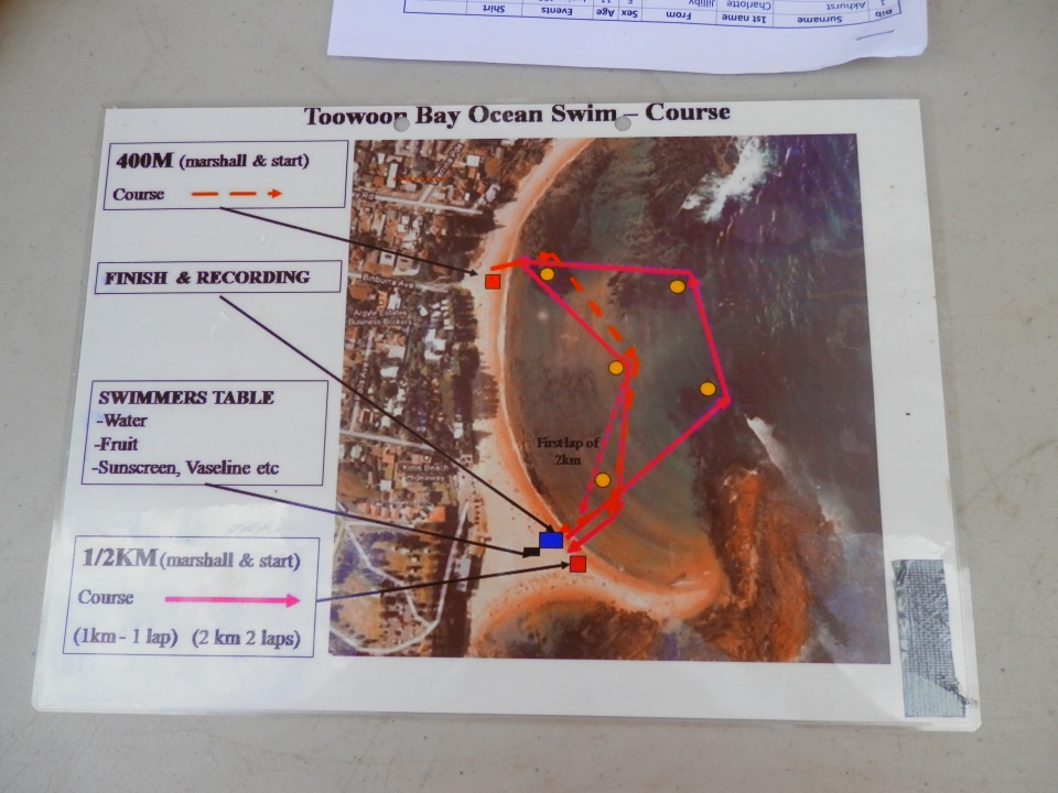 Course map for the three swims