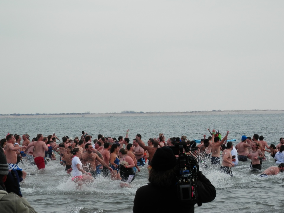 Braving the freezing water at Coney Island