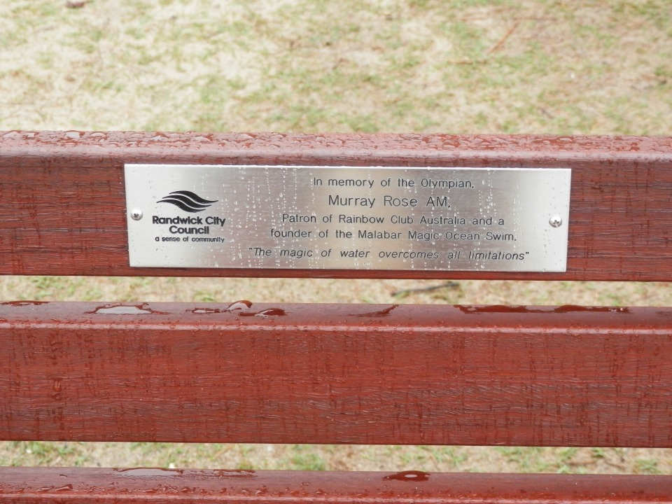 The plaque and seat dedicated to Murray Rose