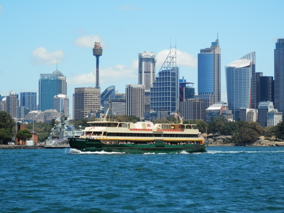 Manly ferry and the Sydney skyline