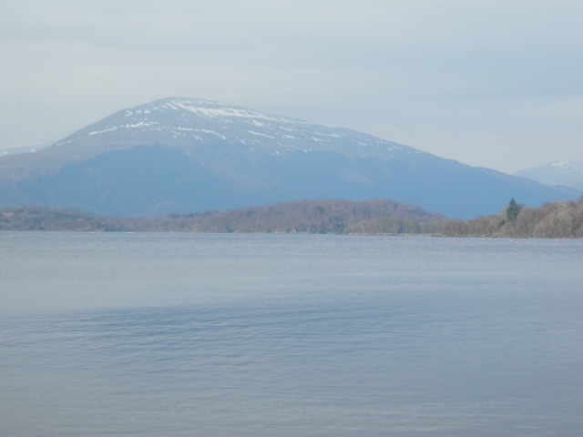 Milarrochy Bay Loch Lomond with some snow on the corbetts in the background