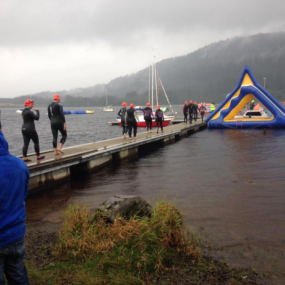 Eagerly walking the plank to start a race