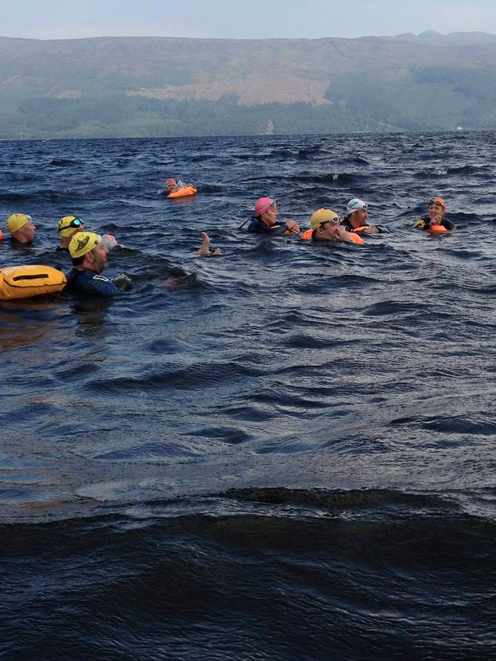 Swimming in Loch Lomond on a sunny windy morning