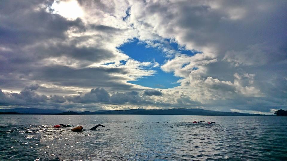 The pod of four splashing down Loch Lomond