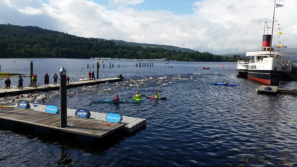 Swimmers leaving the slipway at the beginning of their race