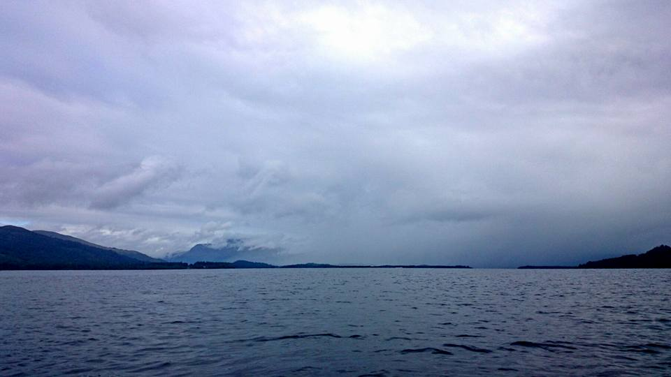 Ben Lomond disappearing behind a squall