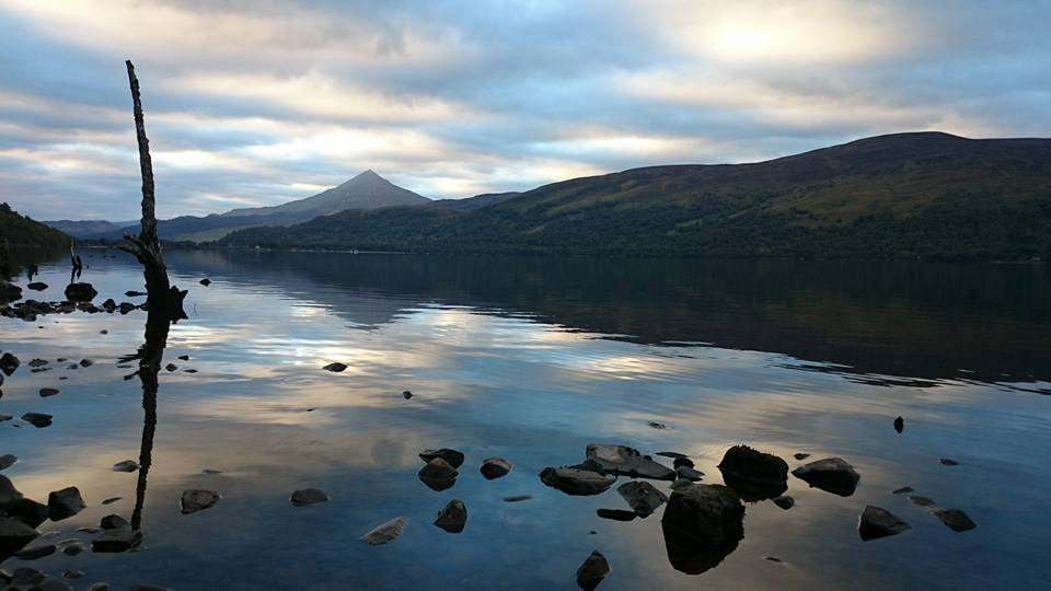 This was the loch the next morning. During the swim this peak was shrouded in ist
