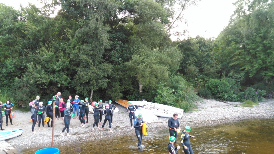 The swimmers at the start line