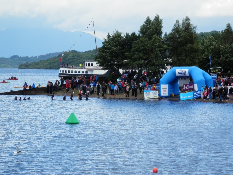 The finish line overlooked by Ben Lomond