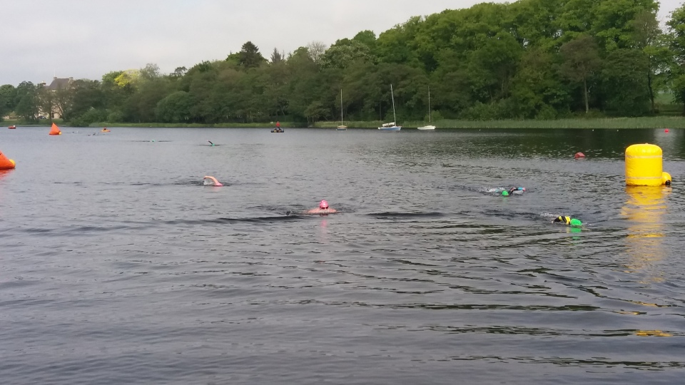 Some of the swimmers towards the finish of the event