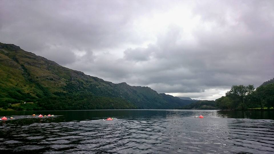 The start of our swim near Ardlui on a still cloudy morning