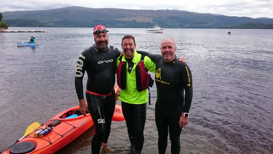 Our kayaker and two of the finishers