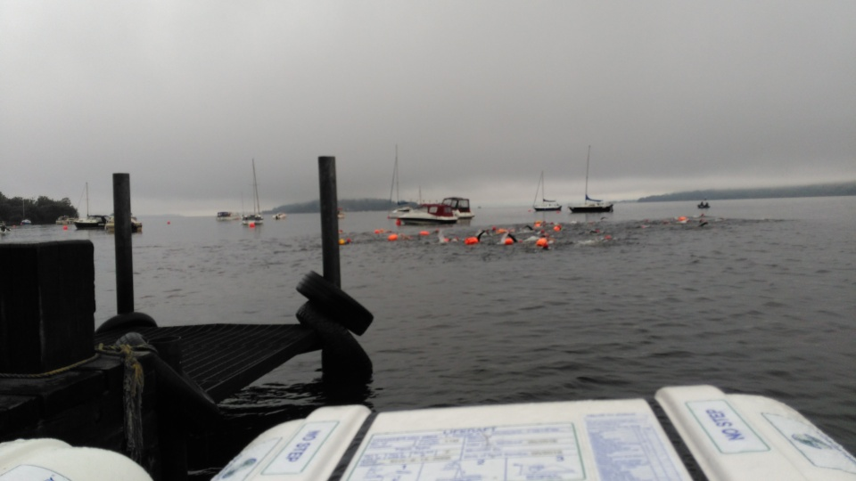 The start of the race with the destination the island in the background